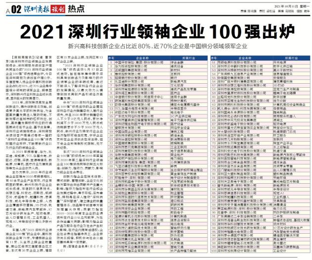 """喜讯!凯儿得乐荣登""""2021深圳行业领袖企业100强"""""""